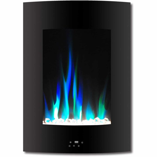 "Cambridge 19.5"" Vertical Electric Fireplace Heater with Multi-Color LED Flames and Crystal Rock Display"