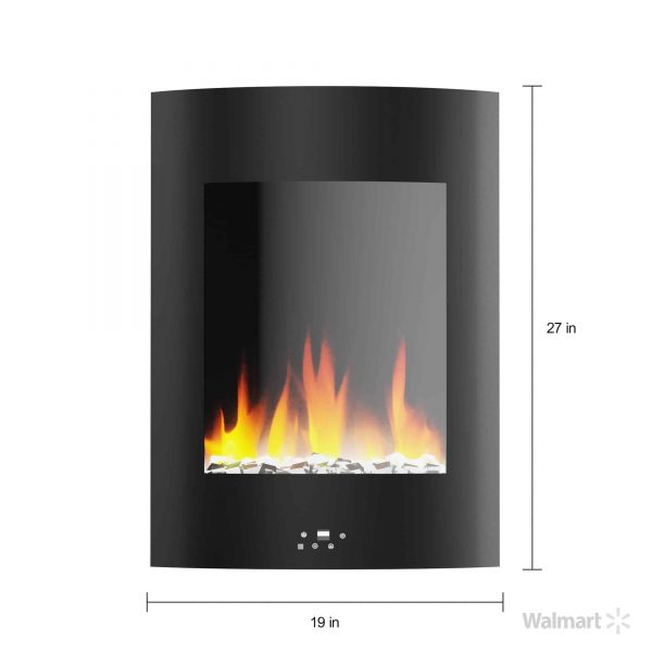"Cambridge 19.5"" Vertical Electric Fireplace Heater with Multi-Color LED Flames and Crystal Rock Display 7"