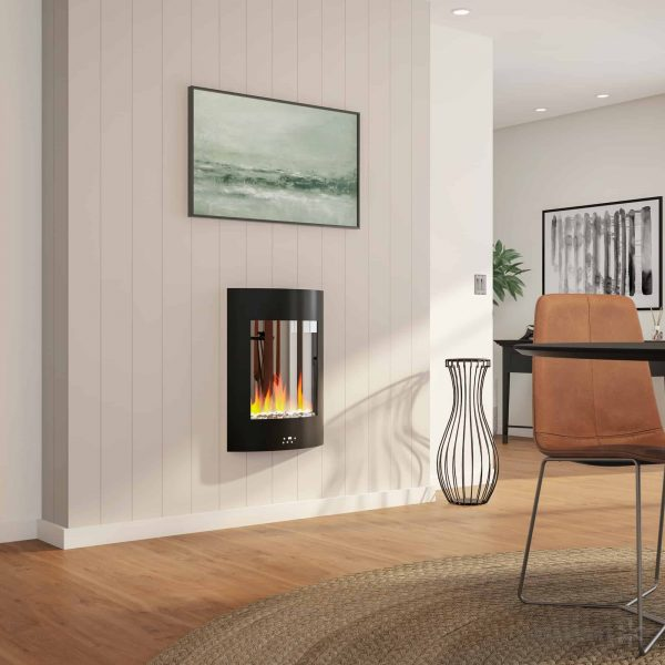 "Cambridge 19.5"" Vertical Electric Fireplace Heater with Multi-Color LED Flames and Crystal Rock Display 8"