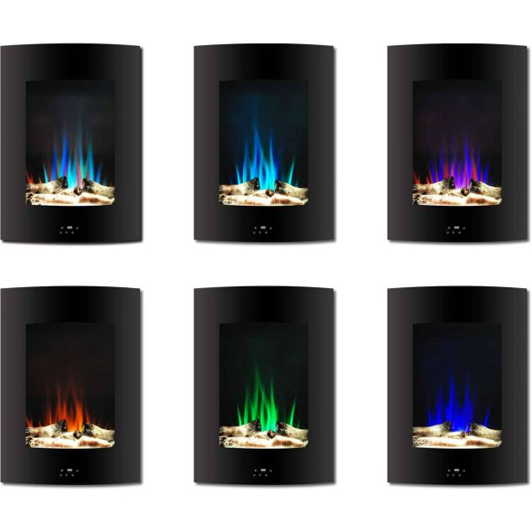 "Cambridge 19.5"" Vertical Electric Fireplace Heater with Multi-Color LED Flames and Driftwood Log Display 1"