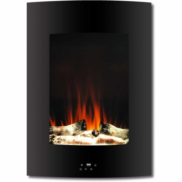 "Cambridge 19.5"" Vertical Electric Fireplace Heater with Multi-Color LED Flames and Driftwood Log Display"