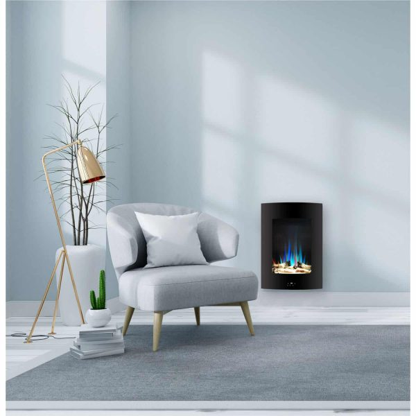 "Cambridge 19.5"" Vertical Electric Fireplace Heater with Multi-Color LED Flames and Driftwood Log Display 8"