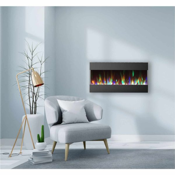 Cambridge 42 In. Recessed Wall Mounted Electric Fireplace with Crystal and LED Color Changing Display, Black 1