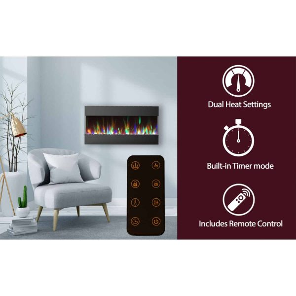 Cambridge 42 In. Recessed Wall Mounted Electric Fireplace with Crystal and LED Color Changing Display, Black 2