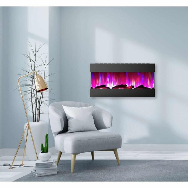 Cambridge 42 In. Recessed Wall Mounted Electric Fireplace with Logs and LED Color Changing Display, Black 1
