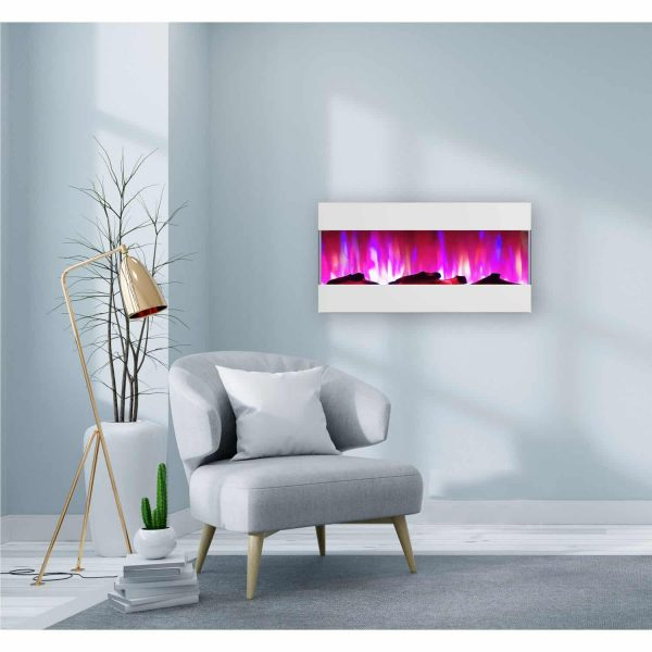 Cambridge 42 In. Recessed Wall Mounted Electric Fireplace with Logs and LED Color Changing Display, White 1