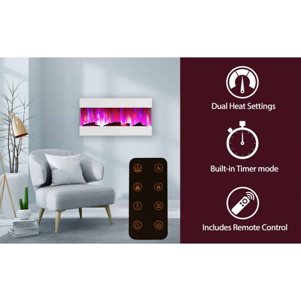 Cambridge 42 In. Recessed Wall Mounted Electric Fireplace with Logs and LED Color Changing Display, White 2