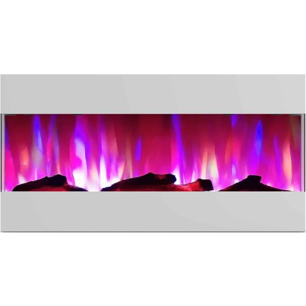 Cambridge 42 In. Recessed Wall Mounted Electric Fireplace with Logs and LED Color Changing Display