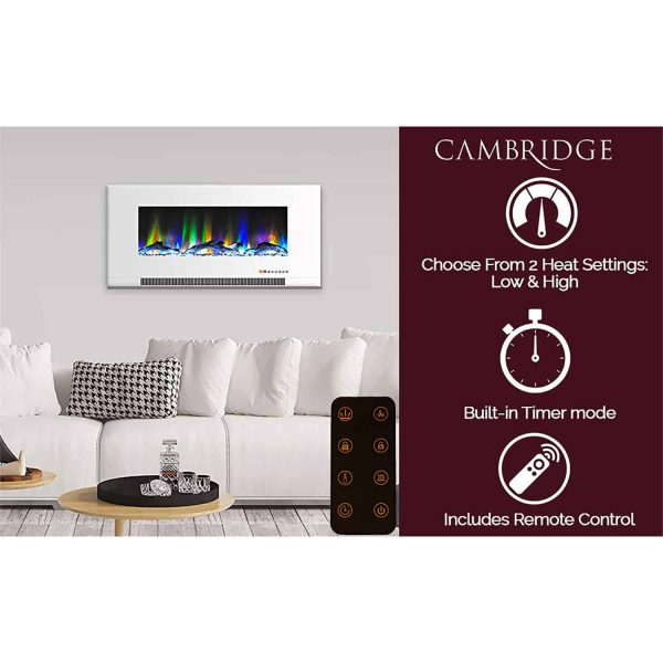 "Cambridge 42"" Wall-Mount Electric Fireplace Heater with Multi-Color LED Flames and Crystal Rock Display 11"