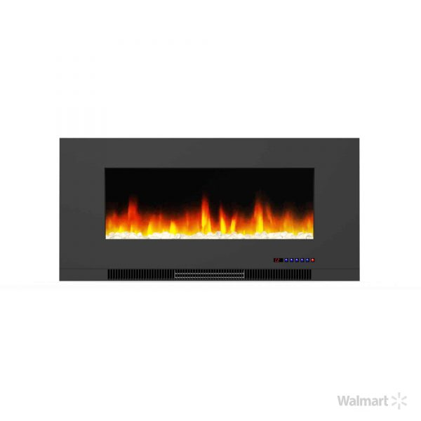 "Cambridge 42"" Wall-Mount Electric Fireplace Heater with Multi-Color LED Flames and Crystal Rock Display 12"