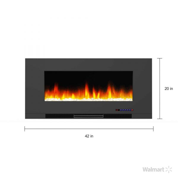 "Cambridge 42"" Wall-Mount Electric Fireplace Heater with Multi-Color LED Flames and Crystal Rock Display 13"