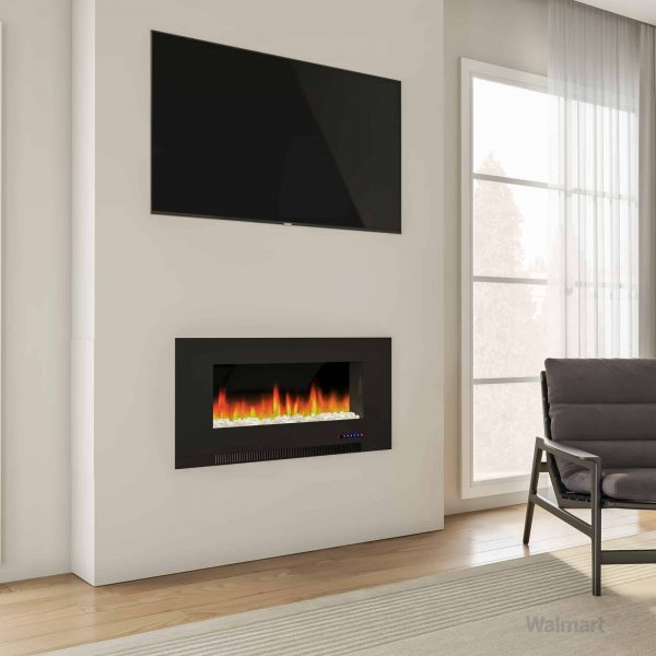 "Cambridge 42"" Wall-Mount Electric Fireplace Heater with Multi-Color LED Flames and Crystal Rock Display 14"