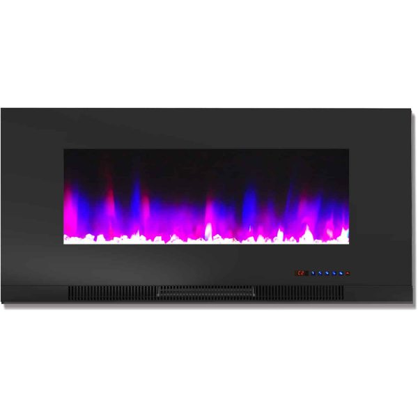 "Cambridge 42"" Wall-Mount Electric Fireplace Heater with Multi-Color LED Flames and Crystal Rock Display 4"