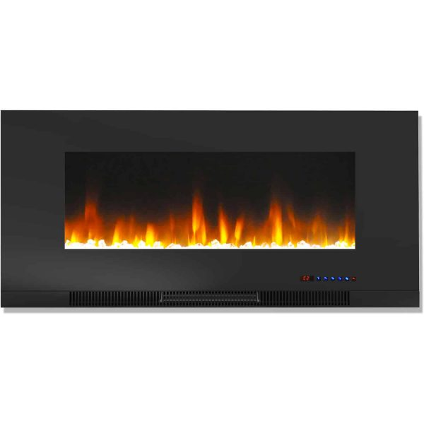 "Cambridge 42"" Wall-Mount Electric Fireplace Heater with Multi-Color LED Flames and Crystal Rock Display 6"