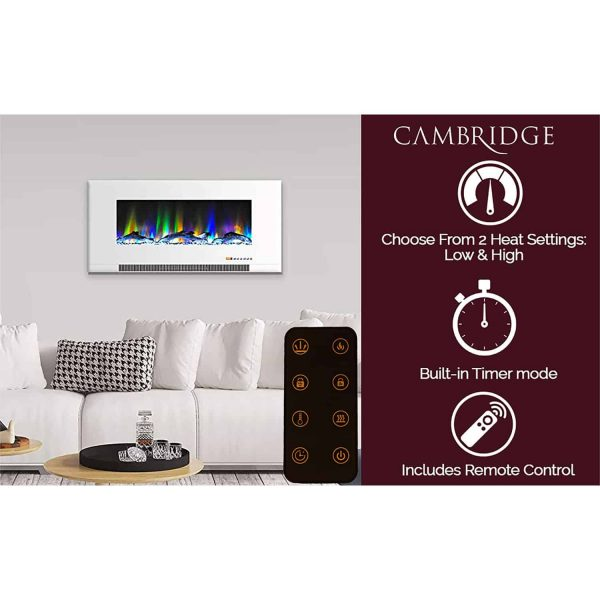 "Cambridge 42"" Wall-Mount Electric Fireplace Heater with Multi-Color LED Flames and Driftwood Log Display 11"