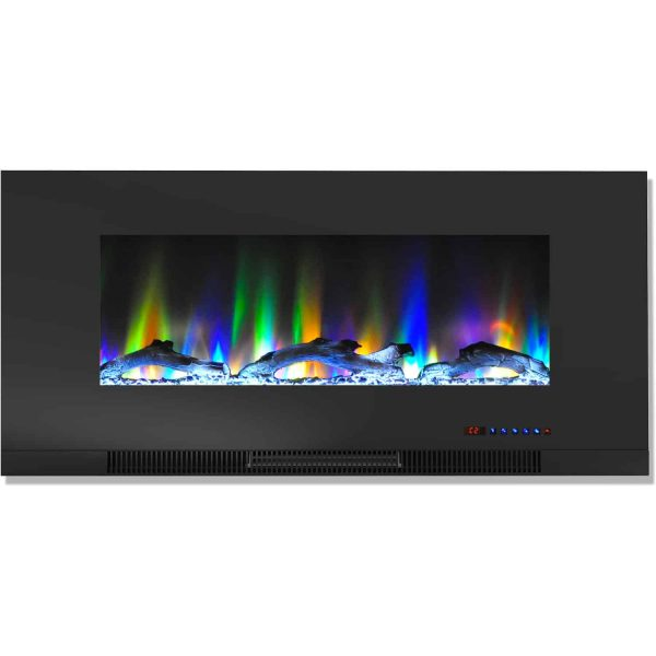 "Cambridge 42"" Wall-Mount Electric Fireplace Heater with Multi-Color LED Flames and Driftwood Log Display 3"