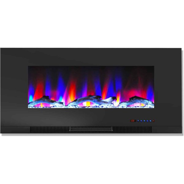 "Cambridge 42"" Wall-Mount Electric Fireplace Heater with Multi-Color LED Flames and Driftwood Log Display 4"