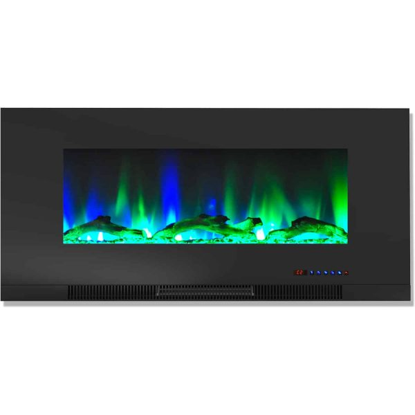 "Cambridge 42"" Wall-Mount Electric Fireplace Heater with Multi-Color LED Flames and Driftwood Log Display 5"