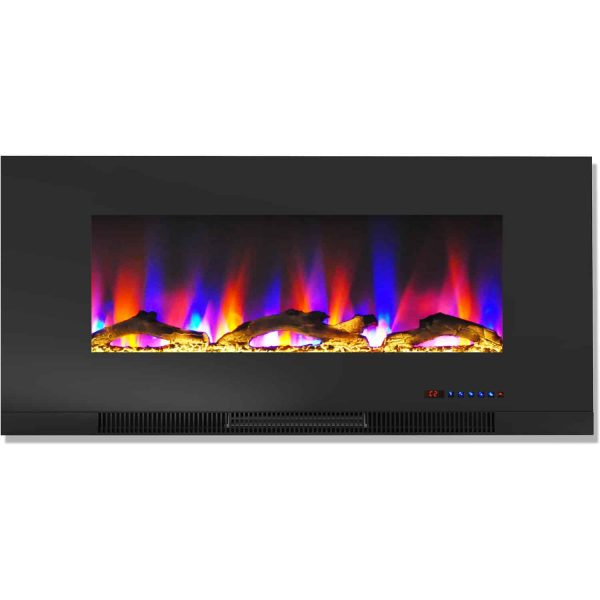 "Cambridge 42"" Wall-Mount Electric Fireplace Heater with Multi-Color LED Flames and Driftwood Log Display 7"