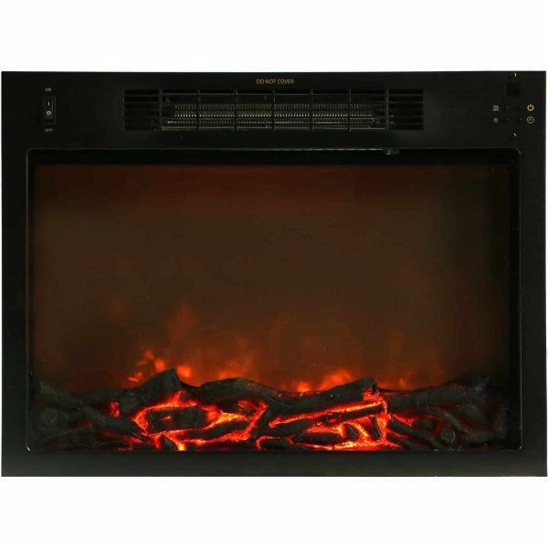 Cambridge 47 In. Electric Fireplace with 1500W Charred Log Insert and A/V Storage Mantel in Slate Blue 4