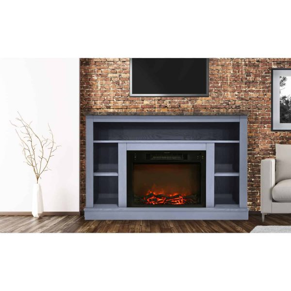 Cambridge 47 In. Electric Fireplace with 1500W Charred Log Insert and A/V Storage Mantel in Slate Blue 6