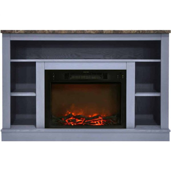 Cambridge 47 In. Electric Fireplace with 1500W Charred Log Insert and A/V Storage Mantel in Slate Blue