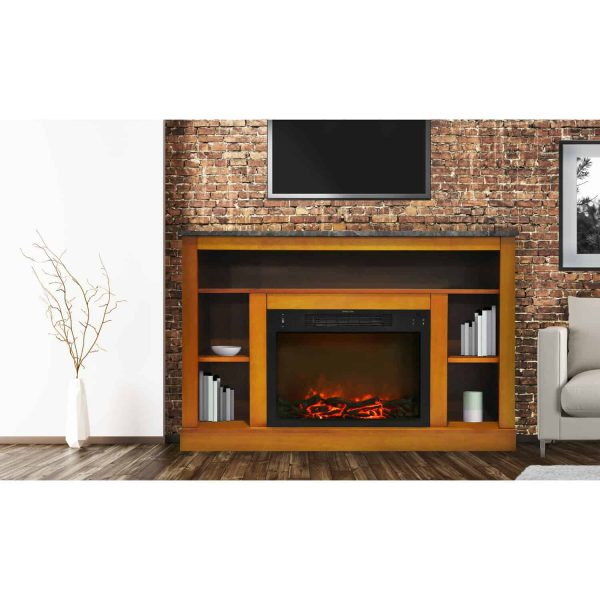 Cambridge 47 In. Electric Fireplace with 1500W Charred Log Insert and A/V Storage Mantel in Teak