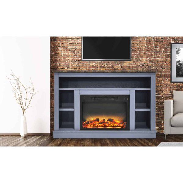 Cambridge 47 In. Electric Fireplace with Enhanced Log Insert and Slate Blue Mantel 1