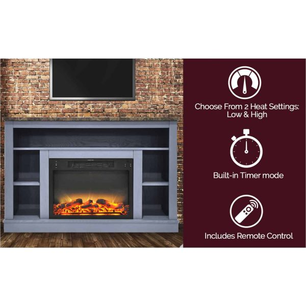 Cambridge 47 In. Electric Fireplace with Enhanced Log Insert and Slate Blue Mantel 2