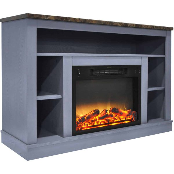 Cambridge 47 In. Electric Fireplace with Enhanced Log Insert and Slate Blue Mantel 4