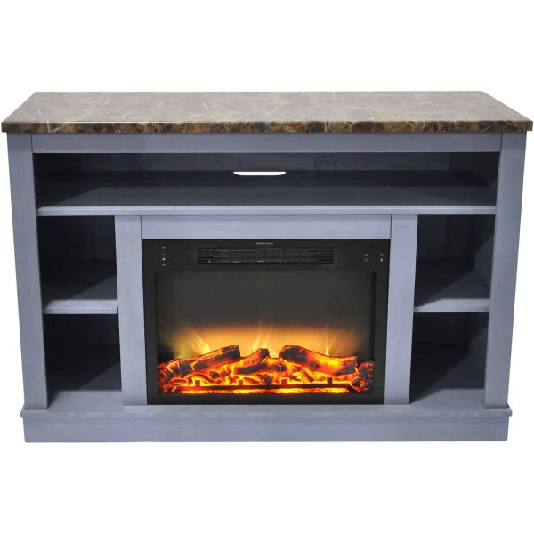 Cambridge 47 In. Electric Fireplace with Enhanced Log Insert and Slate Blue Mantel 5