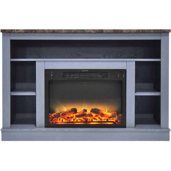 Cambridge 47 In. Electric Fireplace with Enhanced Log Insert and Slate Blue Mantel