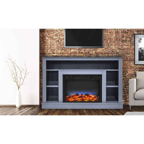 Cambridge 47 In. Electric Fireplace with a Multi-Color LED Insert and Slate Blue Mantel 1