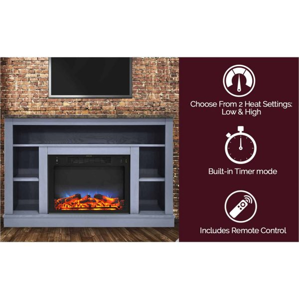 Cambridge 47 In. Electric Fireplace with a Multi-Color LED Insert and Slate Blue Mantel 2