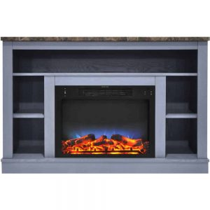 Cambridge 47 In. Electric Fireplace with a Multi-Color LED Insert and Slate Blue Mantel
