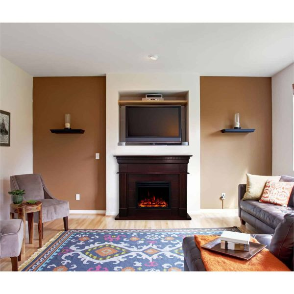 Cambridge 47.8-in. Shelby Electric Fireplace Mantel with Deep Log Insert, Mahogany 1