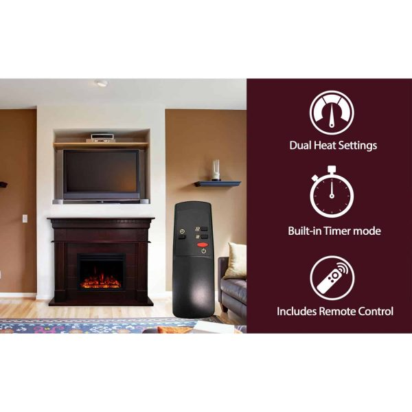 Cambridge 47.8-in. Shelby Electric Fireplace Mantel with Deep Log Insert, Mahogany 2