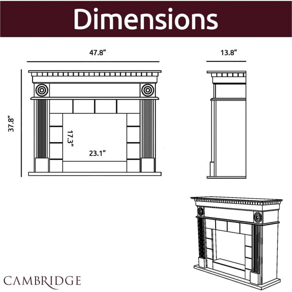 Cambridge 47.8-in. Shelby Electric Fireplace Mantel with Deep Log Insert, Mahogany 3