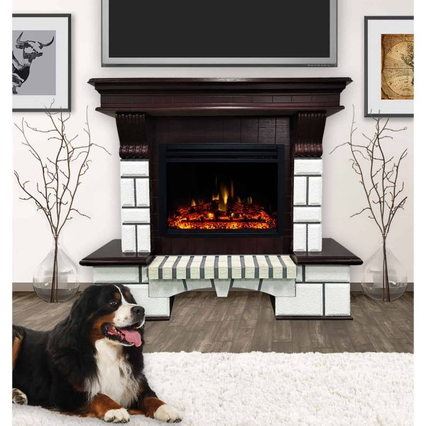 Cambridge 48-In. Hearthstone Traditional Faux Brick Electric Fireplace Mantel with Enhanced Log Display, White and Mahogany 1