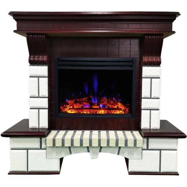 Cambridge 48-In. Hearthstone Traditional Faux Brick Electric Fireplace Mantel with Enhanced Log Display