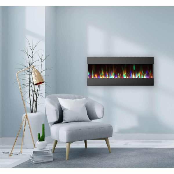 Cambridge 50 In. Recessed Wall Mounted Electric Fireplace with Crystal and LED Color Changing Display, Black 1