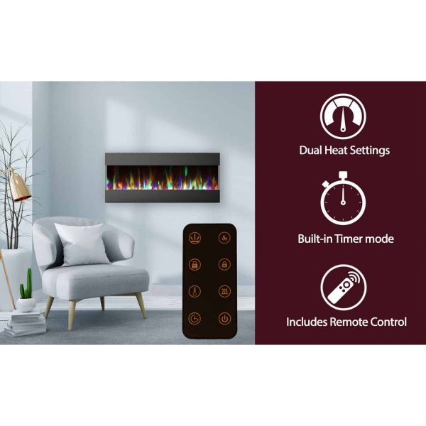 Cambridge 50 In. Recessed Wall Mounted Electric Fireplace with Crystal and LED Color Changing Display, Black 2