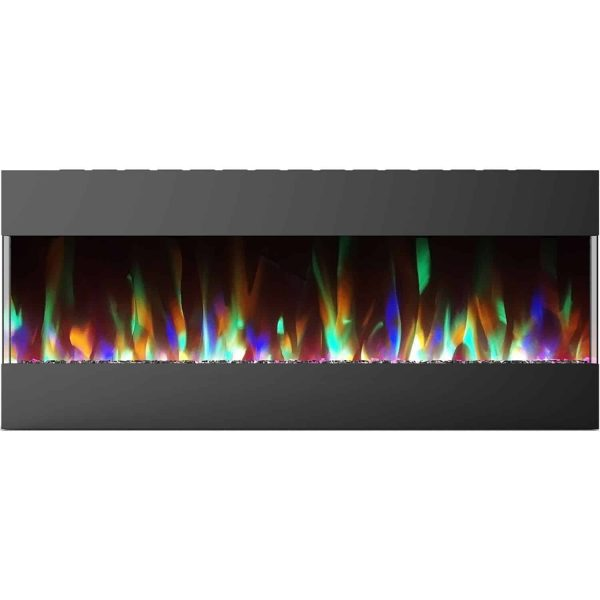 Cambridge 50 In. Recessed Wall Mounted Electric Fireplace with Crystal and LED Color Changing Display