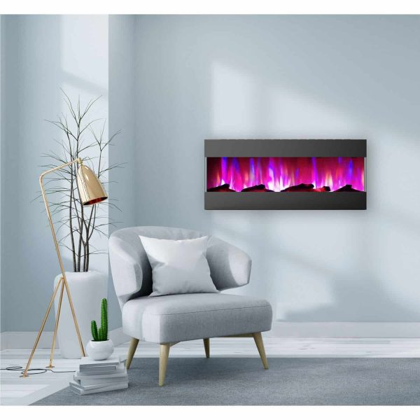 Cambridge 50 In. Recessed Wall Mounted Electric Fireplace with Logs and LED Color Changing Display, Black 1