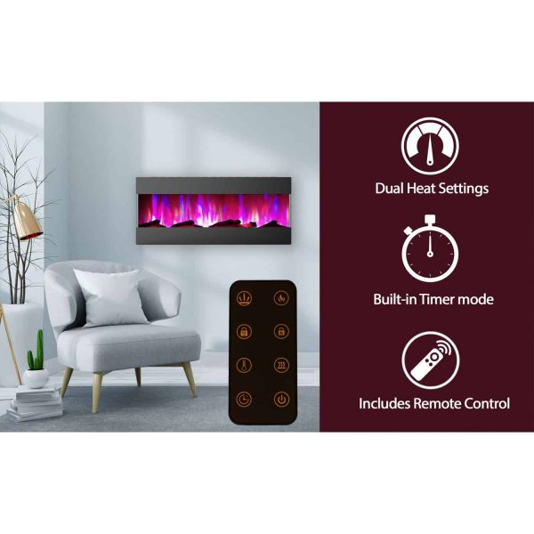 Cambridge 50 In. Recessed Wall Mounted Electric Fireplace with Logs and LED Color Changing Display, Black 3