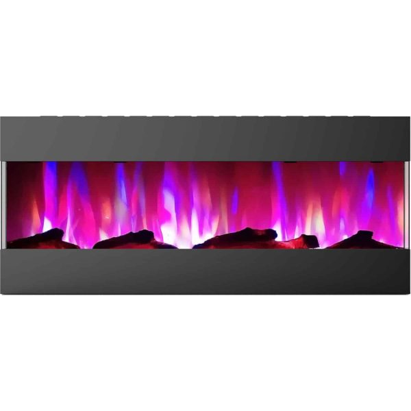 Cambridge 50 In. Recessed Wall Mounted Electric Fireplace with Logs and LED Color Changing Display