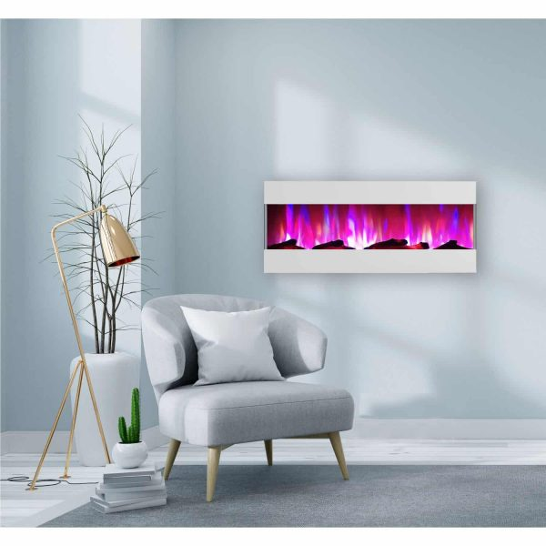 Cambridge 50 In. Recessed Wall Mounted Electric Fireplace with Logs and LED Color Changing Display, White 1