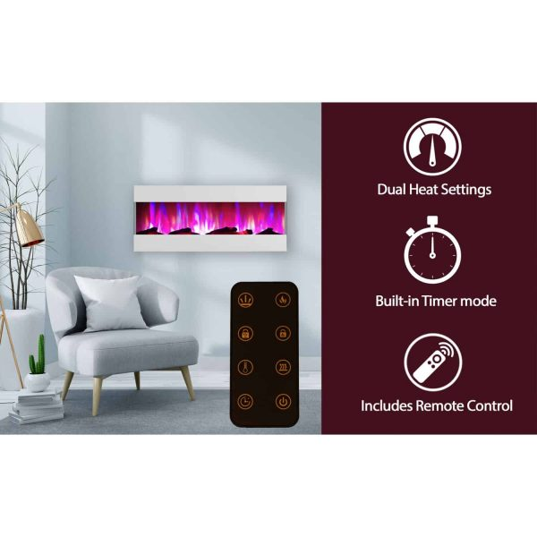 Cambridge 50 In. Recessed Wall Mounted Electric Fireplace with Logs and LED Color Changing Display, White 2