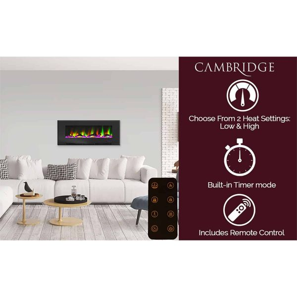 "Cambridge 50"" Wall-Mount Electric Fireplace Heater with Multi-Color LED Flames and Driftwood Log Display 11"