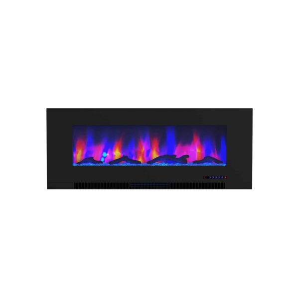 "Cambridge 50"" Wall-Mount Electric Fireplace Heater with Multi-Color LED Flames and Driftwood Log Display 12"